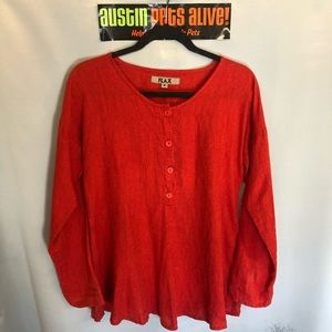 Blood Orange Flax Button Down Long Sleeve
